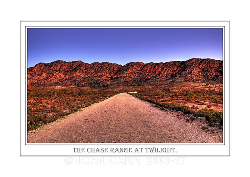 Beautiful Wall Art print  with a Border, showing the Twilight view to the Chase Range and Road, Flinders Ranges, South Australia.