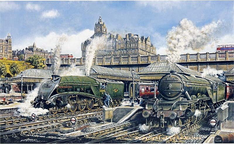 'Union of South Africa', Class A4 Pacific at Edinburgh Waverley - Edinburgh Paintings