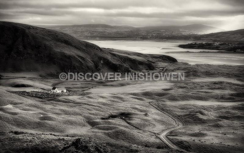 Lagg Church - Inishowen peninsula- B&W
