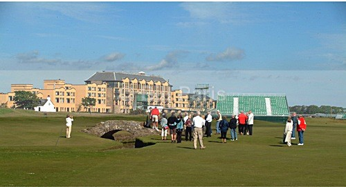 Visitors around the Swilken Bridge at The Old Course St Andrews - Land and Sea