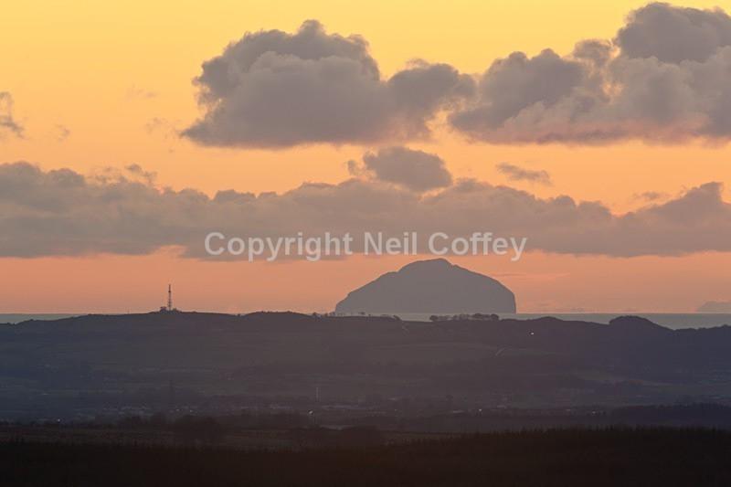Ailsa Craig from Ballageich, East Renfrewshire - Landscape format