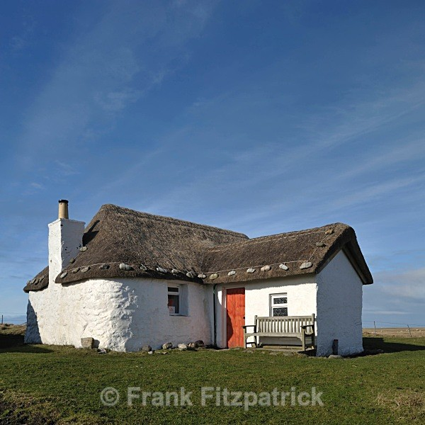 Restored crofters cottage now used as a Youth Hostel. - Island of South Uist in the Outer Hebrides