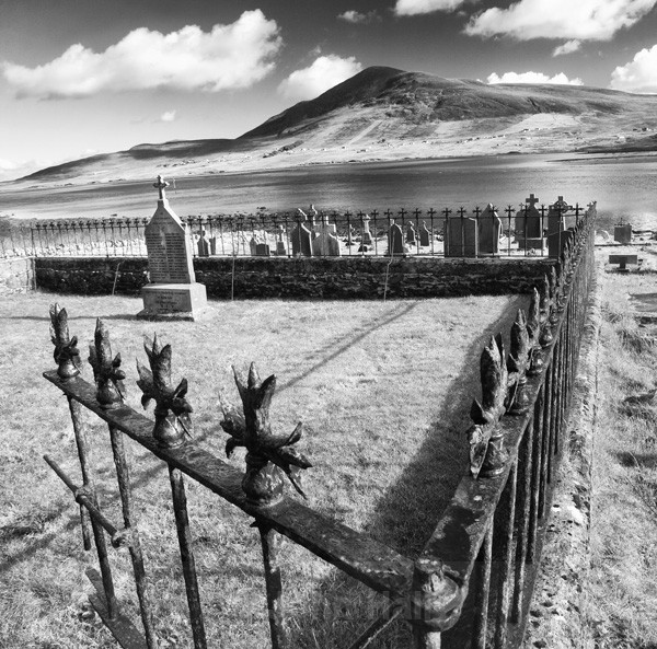 Fine Art Monochrome Of Old Kildownet Graveyard, Achill Island, Co. Mayo, Ireland.