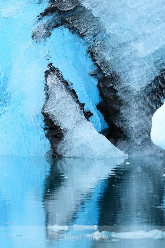 Blue iceberg reflection, Jokulsarlon, Iceland - Iceland