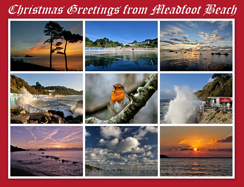 TQ99 - Christmas Card Collage - Greetings Cards Meadfoot Beach and Ansteys Cove Torquay
