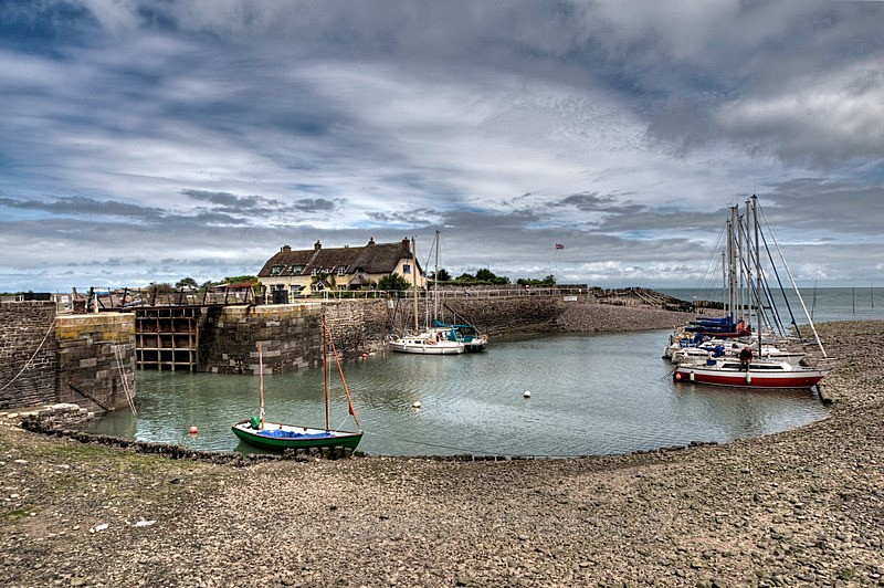 Boats and cottages at Porlock Weir - Somerset