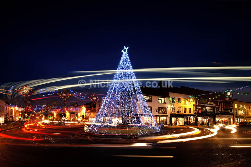 Stratford Christmas Decorations | Blue Lit Christmas Tree on Roundabout | Stratford-upon-Avon