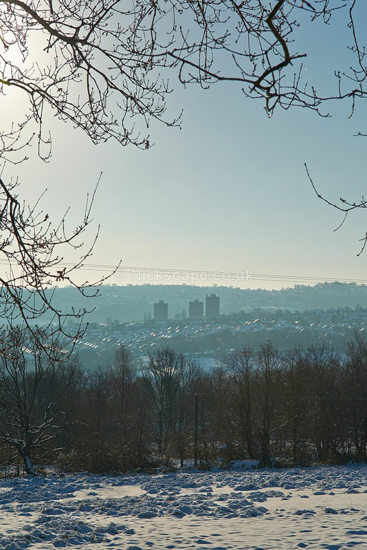 Snowy view to Stannington from Loxley Common - Sheffield - Yorkshire