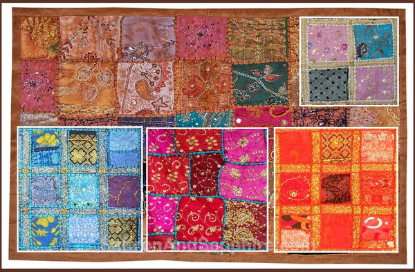 Wall Hanging made with recycled Saris