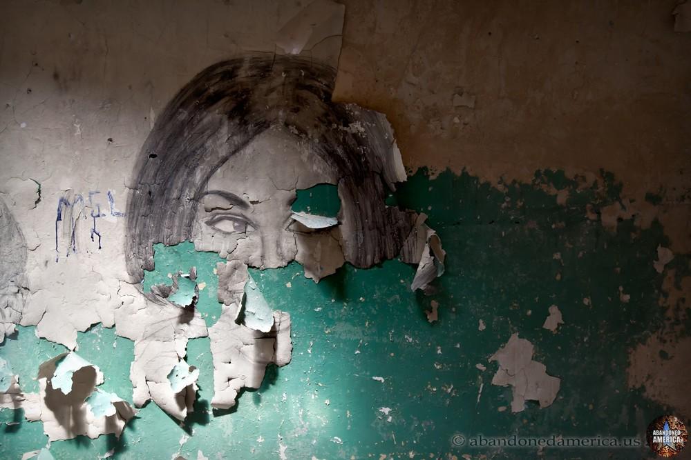 Peeling pencil drawing, Holmesburg Prison, Philadelphia PA | Abandoned America by Matthew Christopher