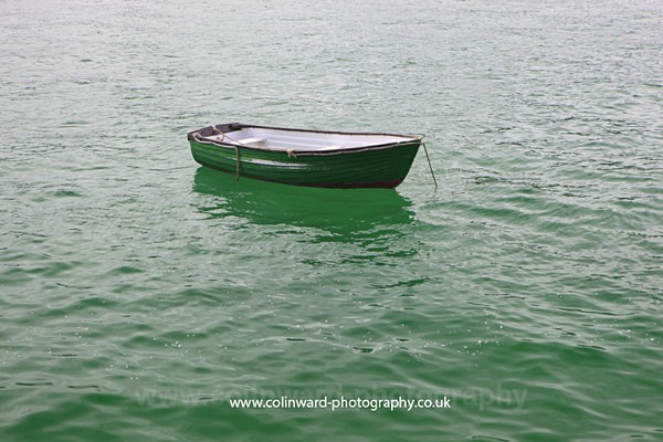 Green boat in the green sea.     ref no 8824 - Cornwall