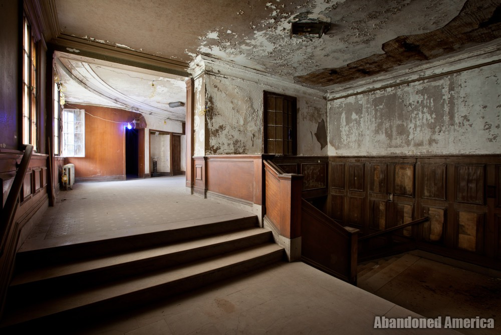 Victory Theatre, (Holyoke MA) | Wood Paneled Stairway - The Victory Theatre