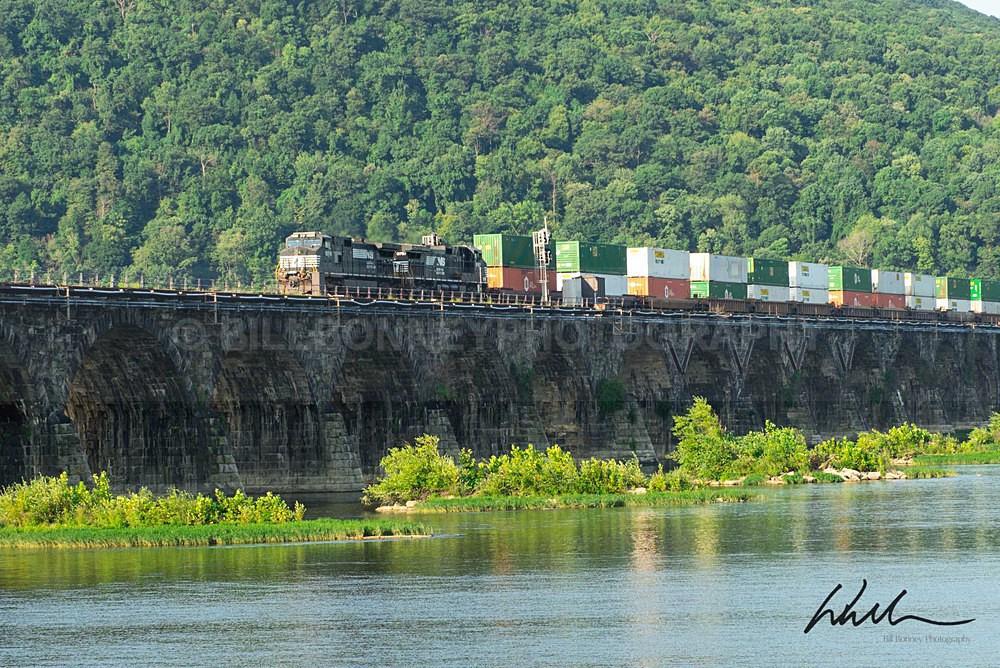 Freight Train on Rockville Bridge - Harrisburg Area, Pennsylvania