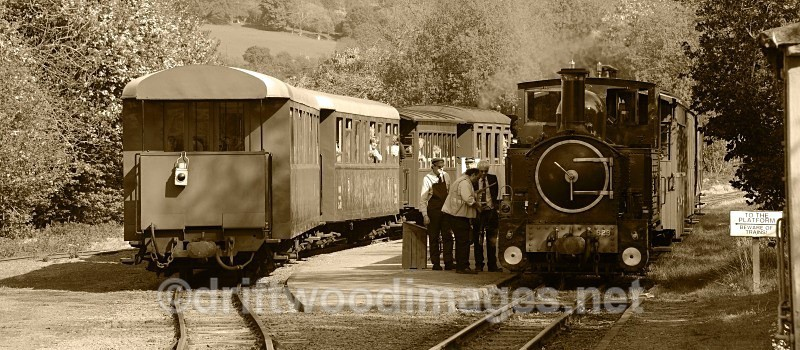WLLR The Countess with the train bound for Llanfair meets The Earl - The Welshpool & Llanfair Light Railway