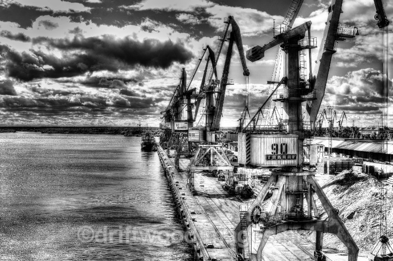 Archangel commercial docks and cranes 2 HDR bw - Archangel, Russia