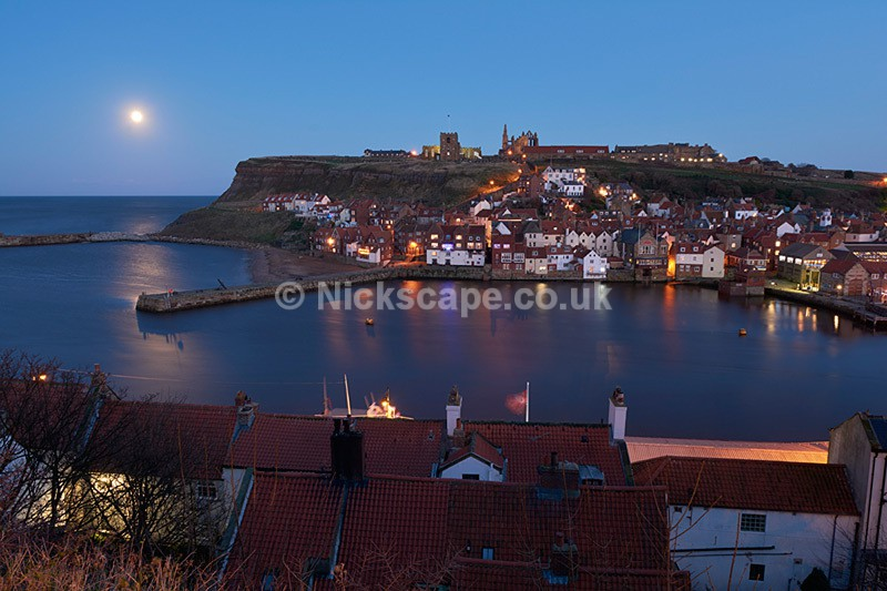View to Whitby Abbey over the Harbour at Night - Yorkshire Coast - Yorkshire