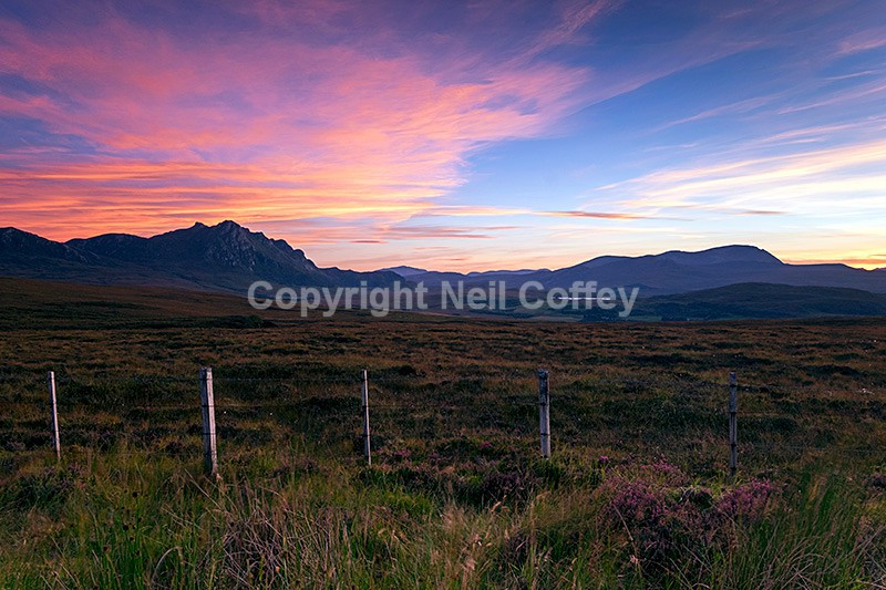 Ben Loyal and Ben Hope from near Tongue, Sutherland - Landscape format