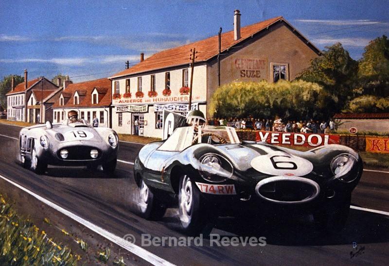Jaguar and Mercedes at Le Mans - Classic cars