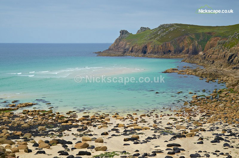 Photograph of Nanjizal Beach in Cornwall | Secluded beach on the South West Coastal Path