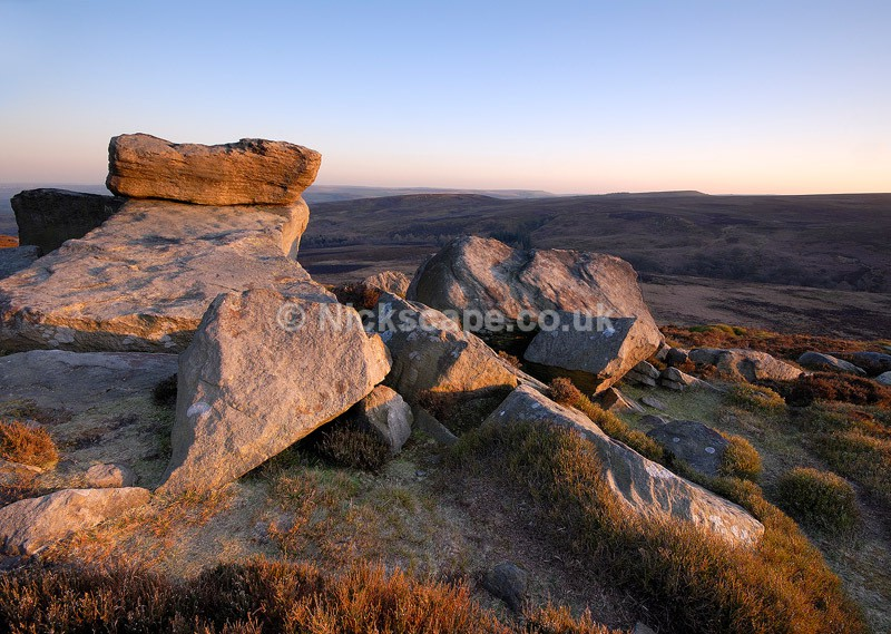 Evening light on the Hurkling Stones | Gritstone Rock Formations in the Peak District