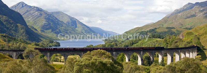 The Jacobite steam Train & Glenfinnan Viaduct, Highland - Panoramic format