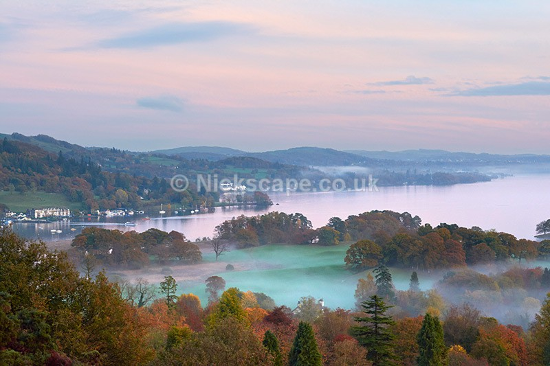 Photo of Lake Windermere in Mist taken High up on Todd Crag | Lake District Photography