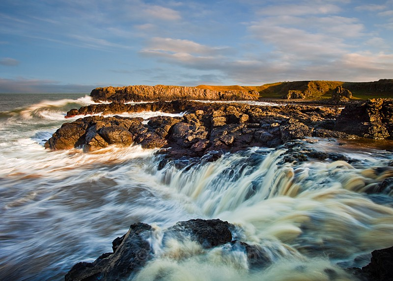 Waterfall at Dunseverick - Cascading Into The Sea