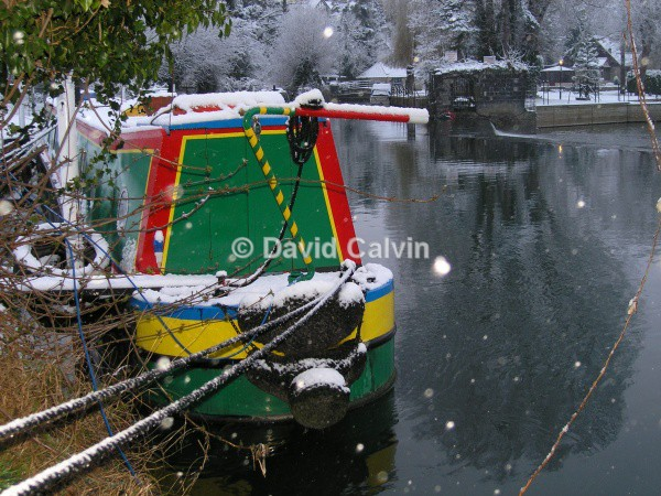 Narrowboat In The Snow - Winter