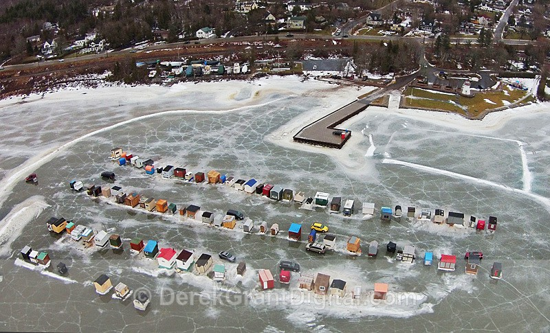 Renforth Ice Shacks Aerial View Rothesay N.B. Canada - Ice Shacks