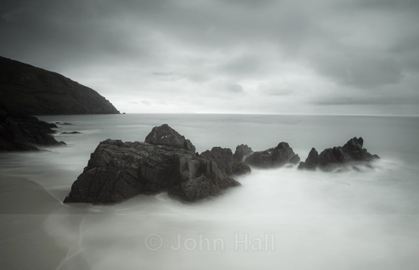 Fine Art Monochrome Of Rock And Sky At Coomeenole Beach, Co. Kerry, Ireland.