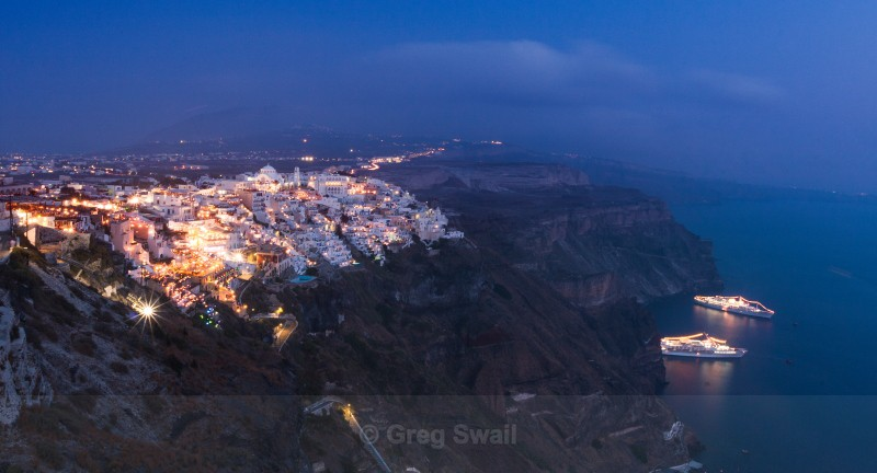 Fira at Night - Santorini Greece (Thira)