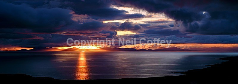Sunset over the Outer Hebrides from the Isle of Skye - Panoramic format