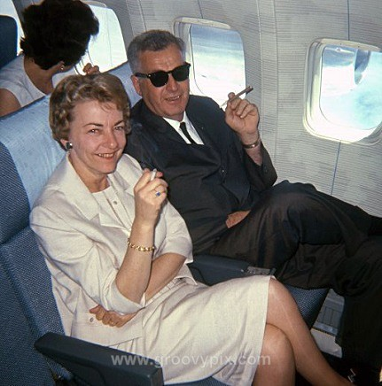 Smoking on a plane 1961 - On Vacation