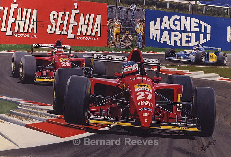 Berger and Alesi in Ferraris at Monza - Formula 1 cars and drivers