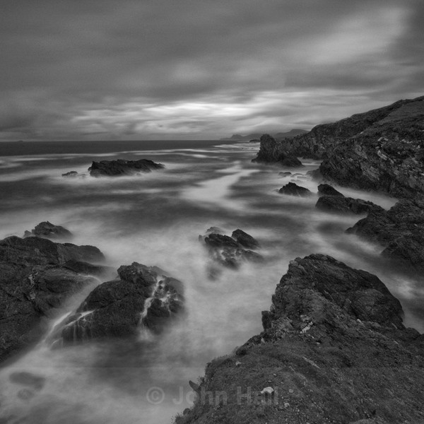 Fine Art Monochrome Of Waves Breaking On The Atlantic Drive, Achill Island, Co. Mayo, Ireland.