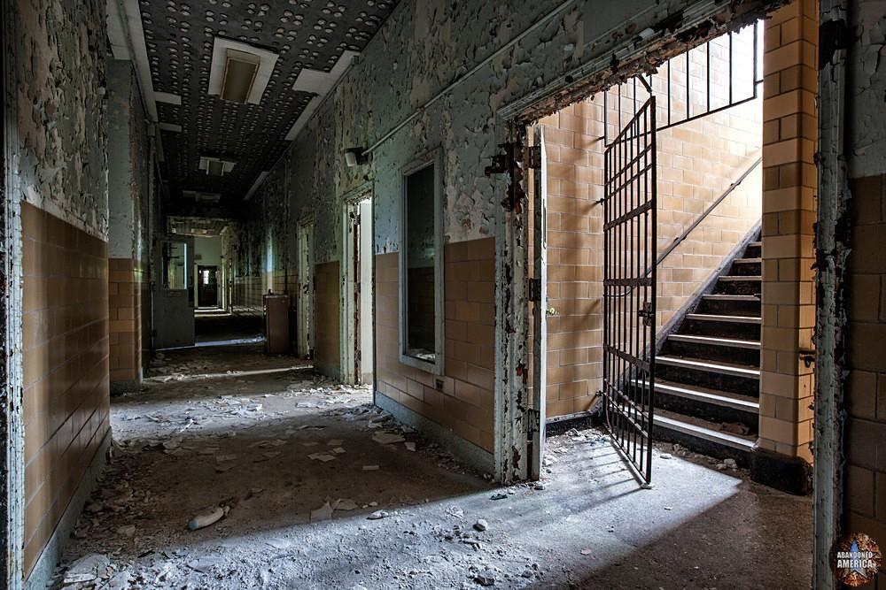 Pennhurst State School (Spring City, PA)   Keystone Hall Stairwell - Pennhurst State School and Hospital