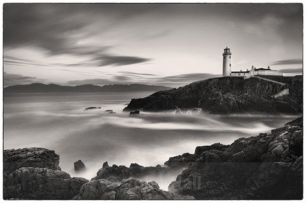 Fine art monochrome of fanad head lighthouse, co. donegal at dusk