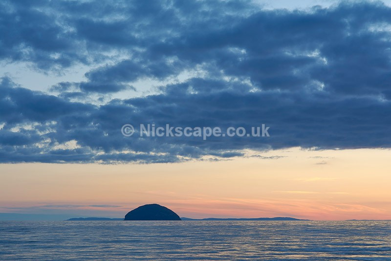 Ailsa Craig at Sunset from the Ayrshire Coastline - Scotland