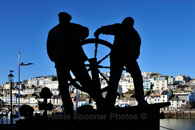 BX03 - The Man and Boy Statue overlooking Brixham Harbour - Greetings Cards Brixham and Kingswear