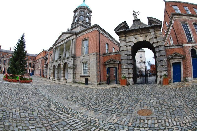 Bedford Tower and Castle Gate - Dublin - through a fisheye lens