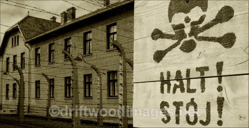 Auschwitz Halt sign and building sepia - Auschwitz/Birkenau