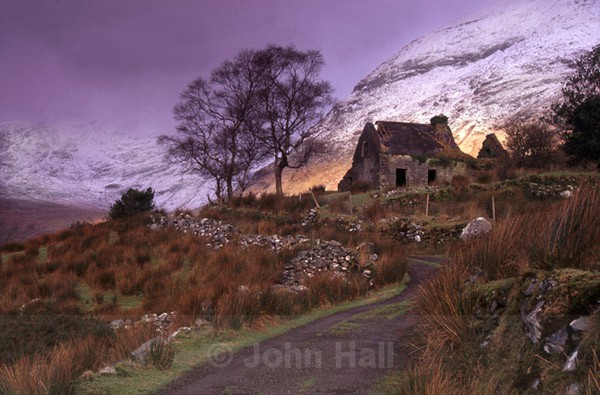 old deserted cottage in winter, black valley, co. kerry, ireland.