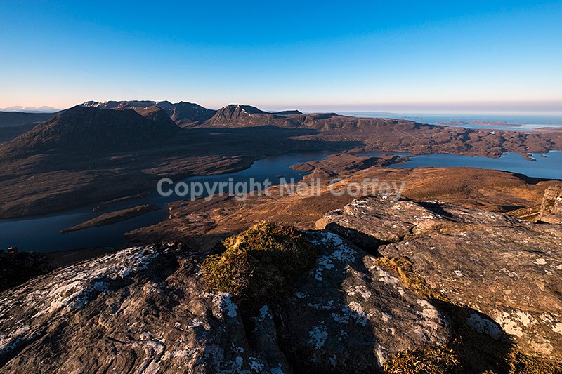 Beinn an Eion and Ben More Coigach from Stac Pollaidh, Highland - Landscape format