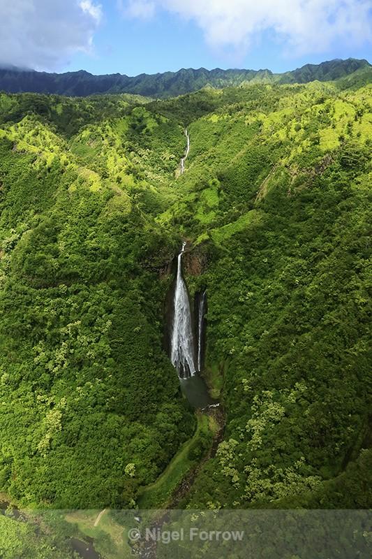 Manawaiopuna Falls from air, Kauai - Hawaiian Islands, USA