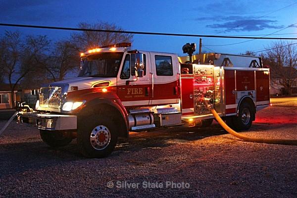 Engine 322 supplying water to Burn Trailer - Fallon/Churchill Fire Department