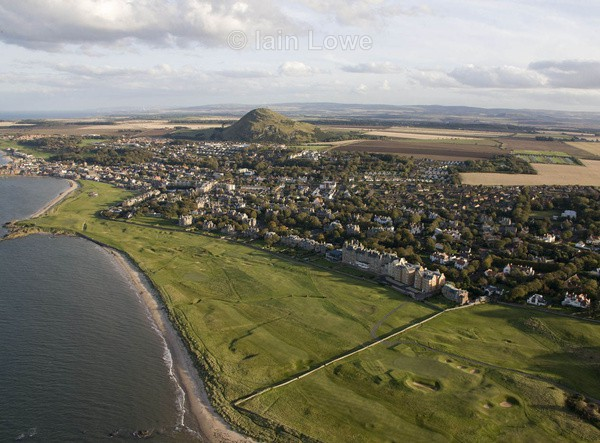 Aerial North Berwick West Links 15th redan bottom left - Scottish Links Aerial Images