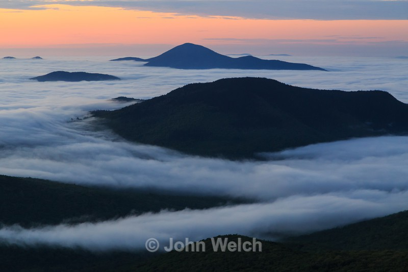 Undercast at Sunrise from Stairs Mountain - White Mountain National Forest and Northern New Hampshire