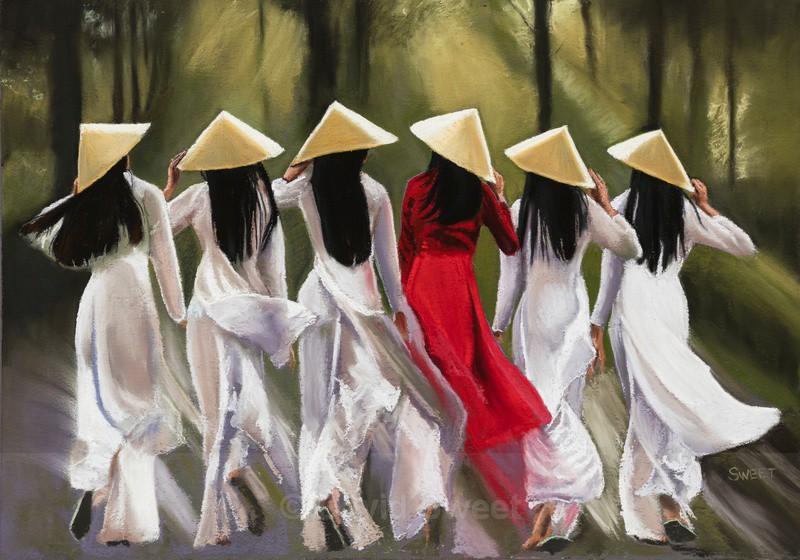 Vietnamese Schoolgirls - Paintings
