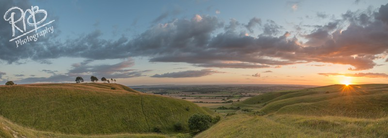 Sunset over Roundway Hill - Panoramic Images