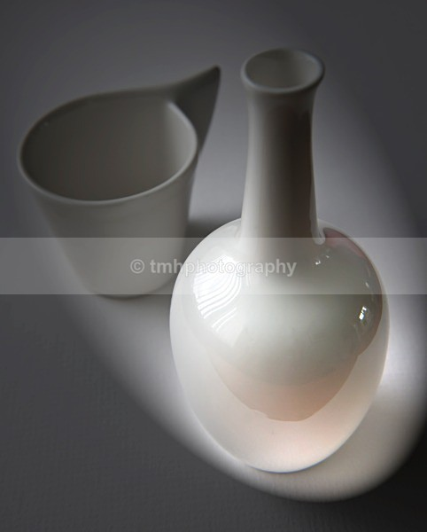 White Vase with Cup. - Still Life